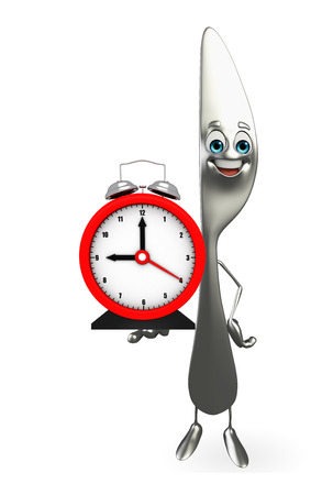 butter knife: Cartoon character of knife with table clock Stock Photo