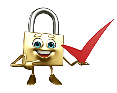 confidentiality: Cartoon Character of lock with right sign