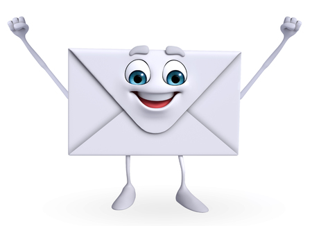 Cartoon Character of mail is happy  photo