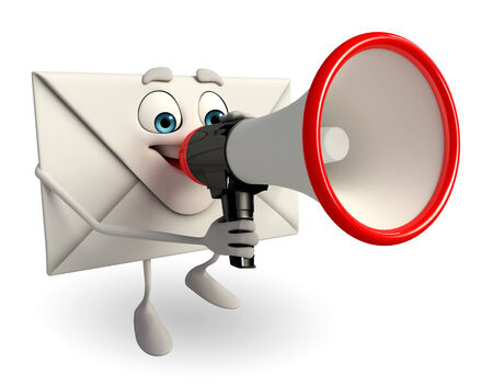 Cartoon Character of mail with Loudspeaker photo