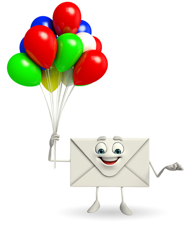Cartoon Character of mail with Balloon photo