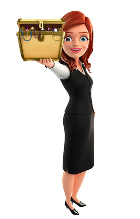Illustration of young Business Woman with treasure box illustration
