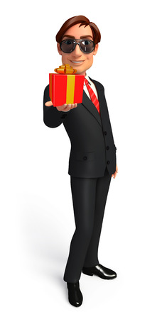welcoming: Illustration of Young Business Man with gift box