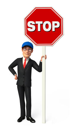 Illustration of Young Business Man with Stop sign illustration
