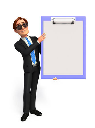 welcoming: Illustration of Young Business Man with notepad Stock Photo