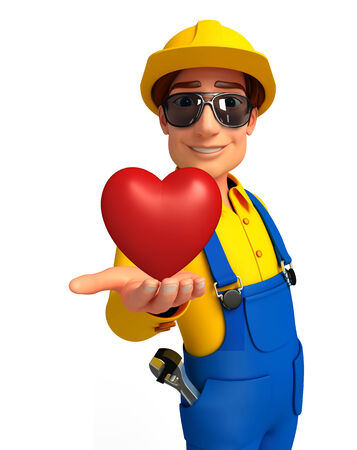 chrome man: Illustration of young mechanic with heart