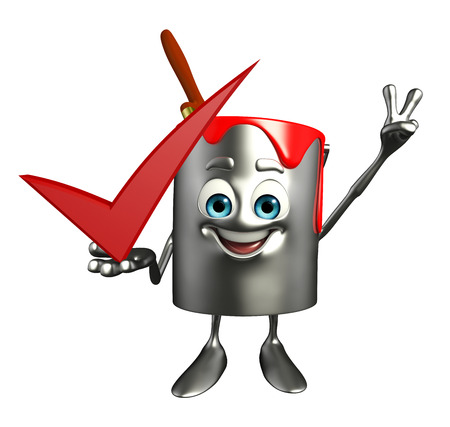 Cartoon Character of paint bucket with right sign photo