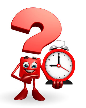 Cartoon Character of Question Mark with table clock  photo