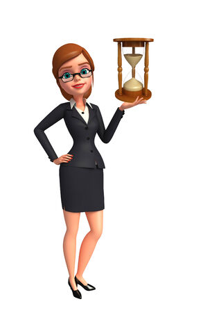 sand clock: Illustration of Young Business Woman with sand clock