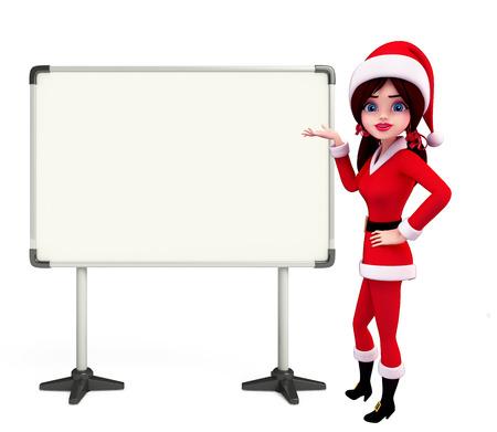Illustration of santa girl with display board illustration