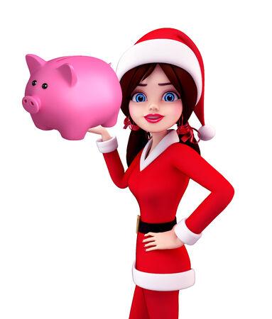 deposite: Illustration of santa girl with piggy bank Stock Photo