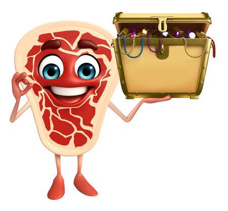 Cartoon Character of meat steak with treasure box photo