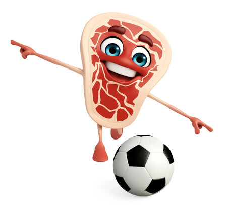 game meat: Cartoon Character of meat steak with football