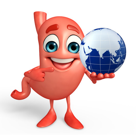 alimentary: Cartoon Character of stomach with globe Stock Photo