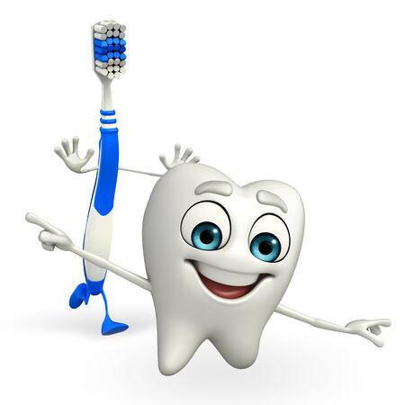 Cartoon Character of toothbrush is running photo