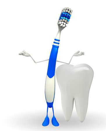 Cartoon Character of toothbrush with happy pose photo