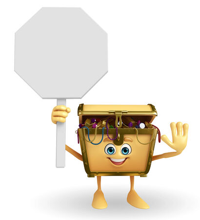 Cartoon Character of Treasure box with stop sign photo