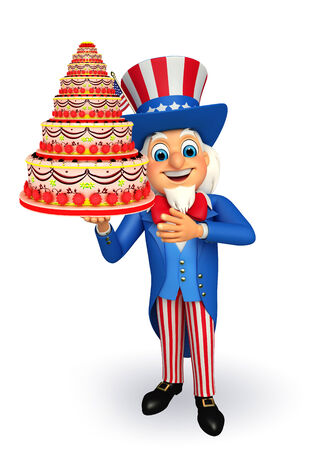 Illustration of uncle sam with cake illustration