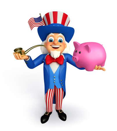 Illustration of uncle sam with piggy bank  illustration