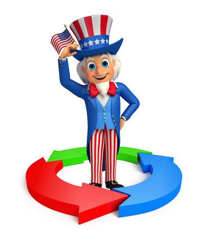 achivement: Illustration of uncle sam with business graph