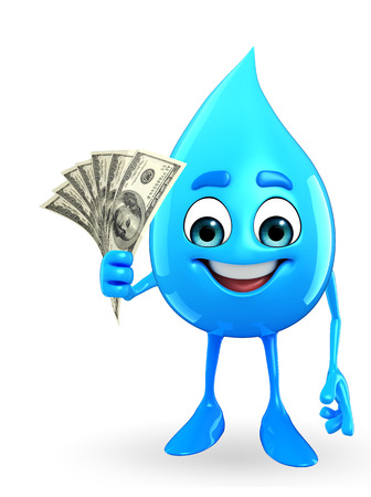Cartoon Character Of Water Drop with dollar