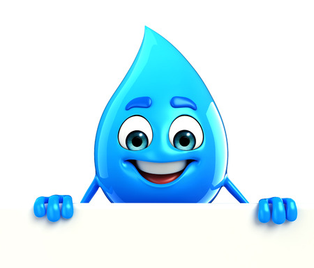 cooled: Cartoon Character Of Water Drop with sign