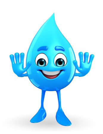 Cartoon Character Of Water Drop with stop sign photo