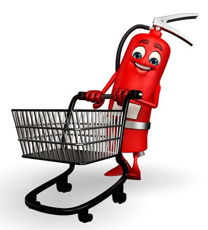 the precaution: Cartoon Character of fire extinguisher with trolley