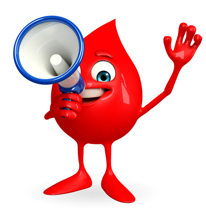 Cartoon Character of Blood Drop with loudspeaker