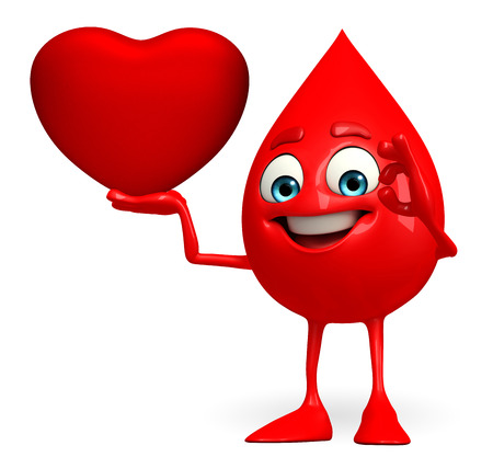 Cartoon Character of Blood Drop with heart