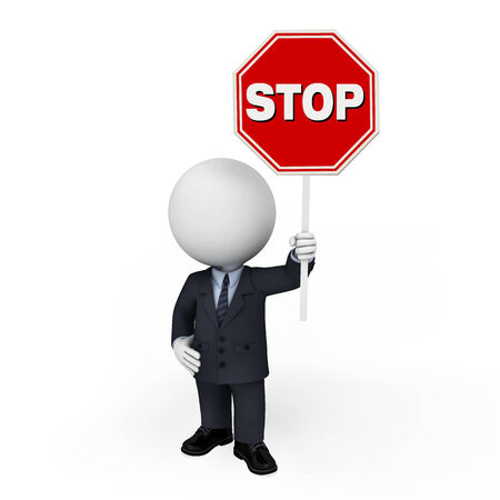 White character as a business man with stop sign photo