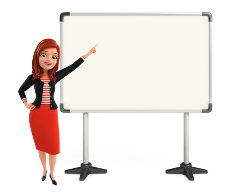 Illustration of corporate lady with display board illustration