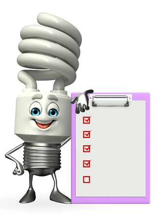 Cartoon Character of CFL with notepad photo