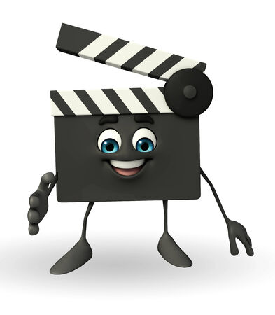 episode: Cartoon Character of Clapper Board with shake hand pose