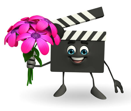 Cartoon Character of Clapper Board with flowers photo