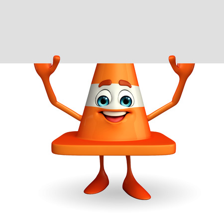 road works ahead: Cartoon Character of Construction cone with sign