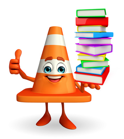 road works ahead: Cartoon Character of Construction cone with pile of books