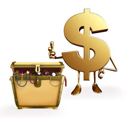 Cartoon Character of dollar with treasure box photo