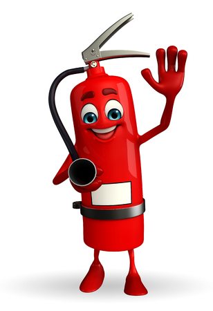 prevention: Cartoon Character of fire extinguisher with hello pose