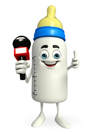 Cartoon Character of baby bottle with mike photo