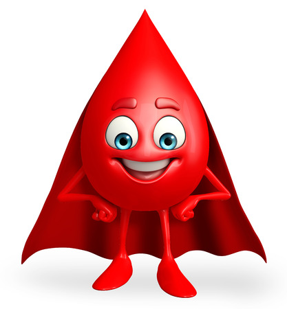 heros: Cartoon Character of super Blood Drop  Stock Photo