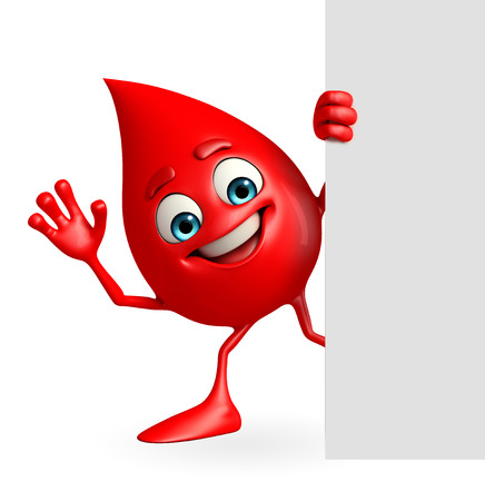 Cartoon Character of Blood Drop with sign