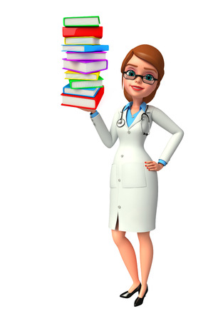 publisher: Illustration of young doctor with books pile