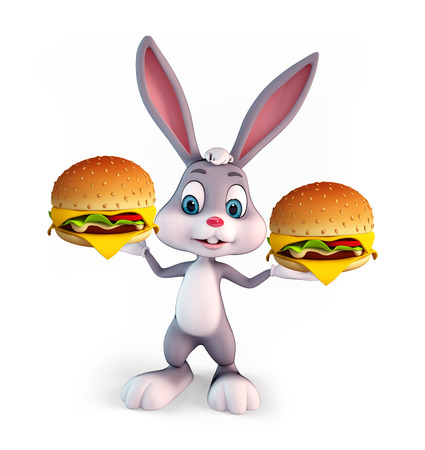 Cartoon Character of Easter Bunny with burger photo