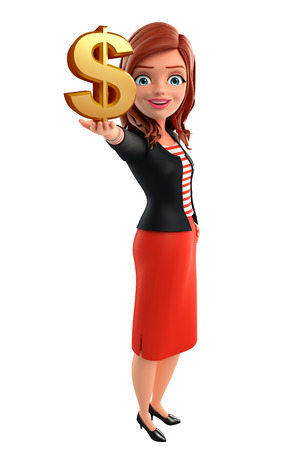 Illustration of corporate lady with dollar sign illustration