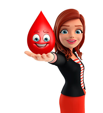 blood glucose: Illustration of corporate lady with blood drope