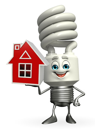 fuze: Cartoon Character of CFL with home Stock Photo