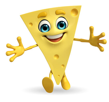 3d pizza: Cartoon Character of Cheese is running