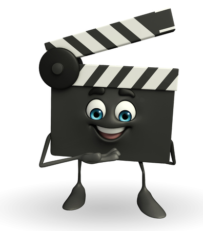 obliged: Cartoon Character of Clapper Board with thank pose