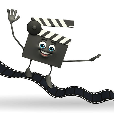 Cartoon Character of Clapper Board with film roll photo